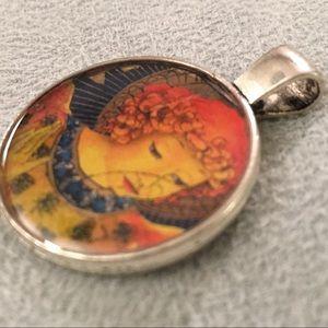 Vintage Postage Stamp Necklace Pendant